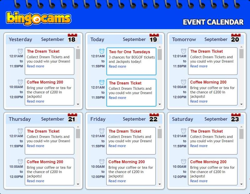 Bingocams Event Schedule